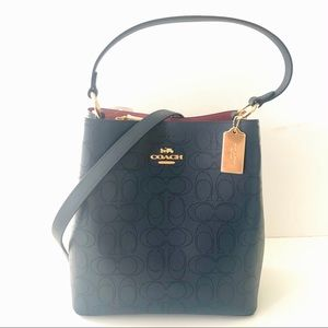 Coach Bucket Bag Blue Perforated Leather Purse